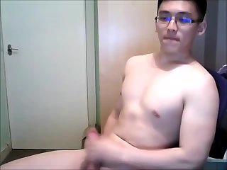 asian boy  cum cam show