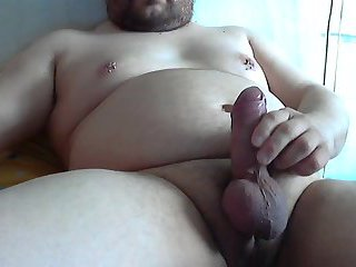 Fat amateur tugging dick