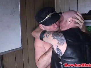 Barebacked hairy biker gets spunked