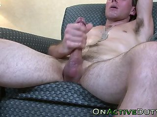 Well hung soldier cums