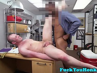 Straight amateur interracial fucked on desk