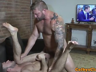 Muscular hunk eats jocks tight ass