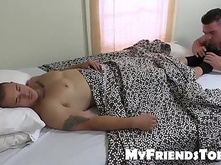 Tattooed and muscular dude sucks his best friends toes