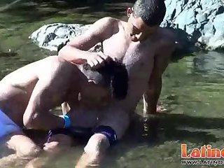 Sweet exotic twinks go for a swim and wet oral fun