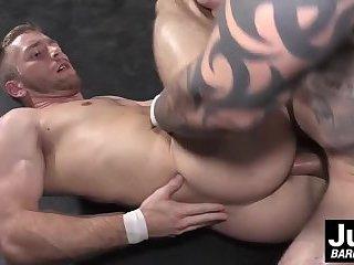 Jordan Levine wrestles down Scott Riley and fucks him bare