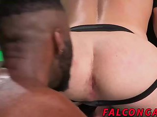 Hard interracial bareback action with a huge black cock
