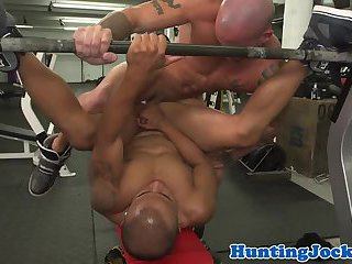 Gym jock throated then assfucked on bench