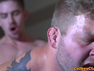 Straight muscled jock buttfucked after rimjob