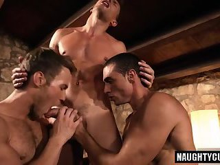 Hot gays double penetration and cumshot