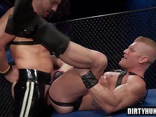 Muscle jock fetish and cumshot
