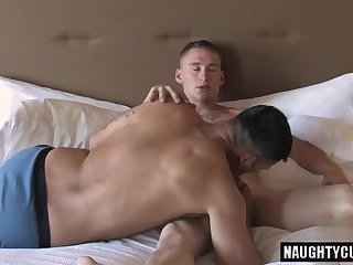 Brunette gay anal sex with cumshot