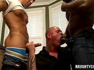Tattoo gay threesome and cumshot