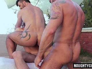 Tattoo gays flip flop with facial