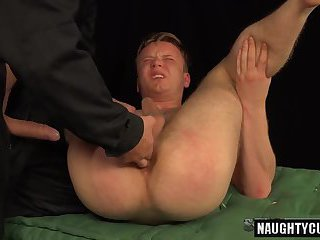 Tattoo gay spanking with cumshot