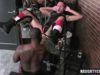 Hot jock double fisting with cumshot