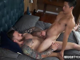 Asian gay anal sex with facial