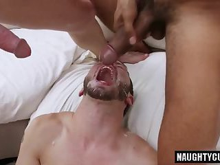 Hot gays bareback with facial