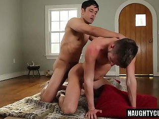 Big dick gay spanking with facial
