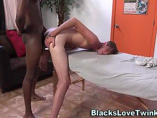 Twink sucking black dick