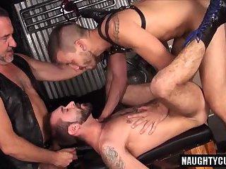 Big dick bear threesome and cumshot