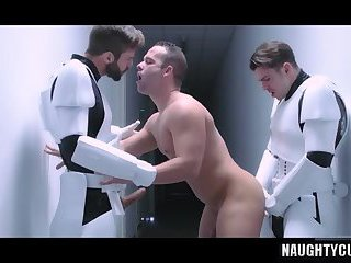 Hot gay threesome with facial