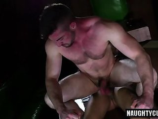 Hairy gay anal sex with facial