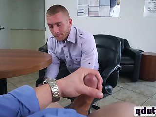 Stud seduced by boss into riding big rod in office