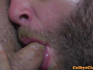 Bearded daddy assfucks twink in the shower