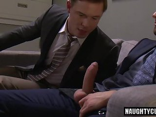 Tattoo gay flip flop with creampie