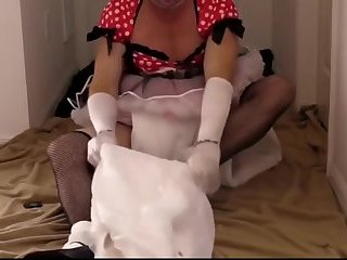 Adultbaby sissy princess in pretty red dress triple diapered to insure no leaks