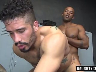 Huge dick gay double penetration and cumshot