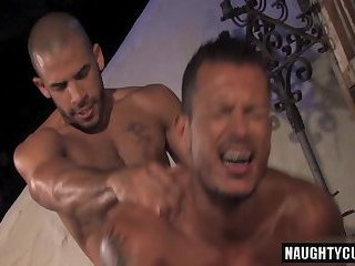 Arab gay threesome and anal cumshot
