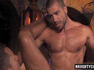 Arab gay threesome and anal cumshot