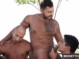 Tattoo gay double penetration and cumshot