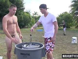 Hot gay outdoor and anal cumshot