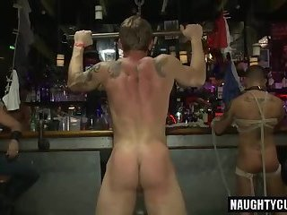 Hot gay bound and cumshot