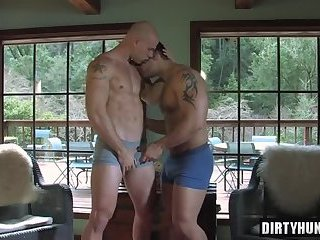 Muscle gay anal sex and ass cumshot