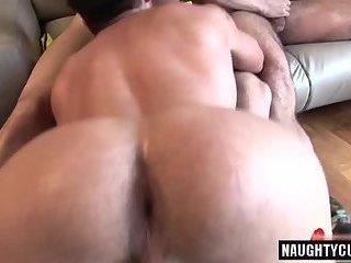 Latin bear threesome with cumshot