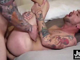 Jordan lifts West and slides his cock in starting to fuck