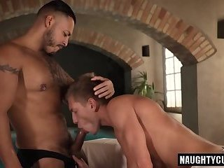 Latin boyfriend bareback with cum eating