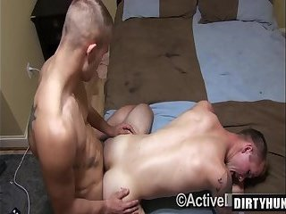 Muscle military oral sex with anal cumshot