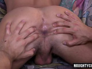 Hot gay double dildo with anal cumshot