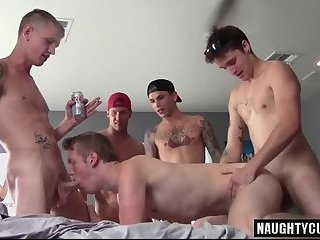 Tattoo son bareback with facial cum