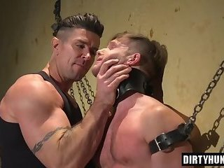 Muscle slave spanking with cumshot