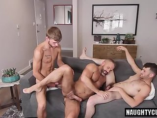 Family Big dick threesome with cumshot