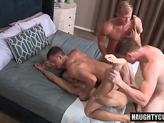 Hot jock foursome and creampie