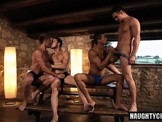 Hot gay double penetration and cumshot