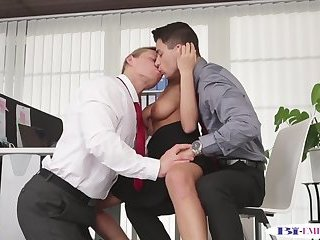 Businessmen sucking cock and fucking pussy