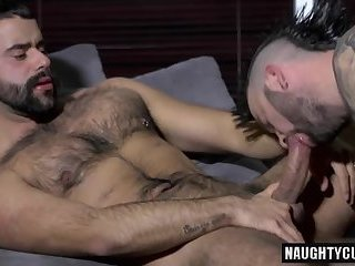 Hairy gay flip flop with cumshot