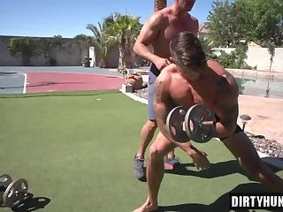 Muscle gay bareback with facial